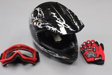 HELMET CHILDREN BLACK DIRT/TRAIL/ATV/KART WITH FREE FREIGHT, GOGGLES AND GLOVES
