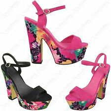 New Ladies Floral Print Block High Heels Womens Strappy Peep Toe Platform Shoes