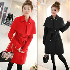 Womens Woolen Blend Jacket Slim Cloak Winter Coats Fashion Outwear Plus Size 4XL