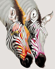 Colorful Zebras Hand Painted Design Needlepoint Canvas 703
