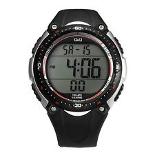 Q&Q MENS DIGITAL WATCH MADE BY CITIZEN BLACK/SILVER M010J002Y 100M 1 YR WARRANTY