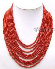 """SALE Luxury 10 Strands 3-4 MM Red Round High Quality Coral 18-23"""" Necklace-n5777"""