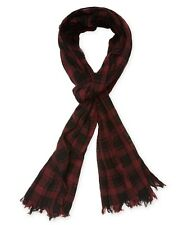 John Varvatos Star USA Men's Scarf Plaid Bordeaux Merino Wool $85 msrp NWT