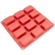 Freshware CB-105RD 12-Cavity Petite Silicone Mold for Soap, Bread, Loaf, Muffin,