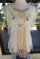 Gorgeous Macrame Lace & Ruffles Pretty Angel Lined Beaded Blouse Sz. S