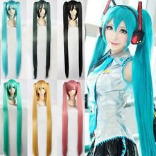 Green Blue Long Party Vocaloid Hatsune Miku 2 Ponytails Cosplay Hair Full Wig s4