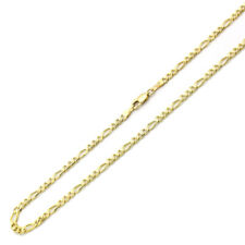 3.5mm 14K Yellow Gold Chain Concaved Figaro Chain Necklace / Gift box