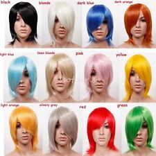 Trendy Synthetic Anime Cosplay Wig Short Full Wigs Black Blonde Pink Blue Orange