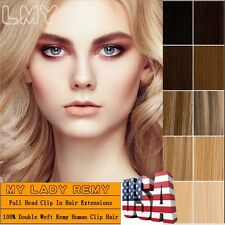 Extra Thick Remy Human Hair Extensions Double Weft 130G-200G Clip In US TOPMX508