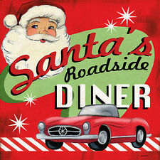 """""""Retro Diner Santa"""" by Jennifer Brinley Graphic Art on Wrapped Canvas"""