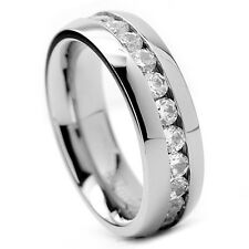 MEN'S WOMEN'S ROUND CUT CZ ETERNITY STAINLESS STEEL WEDDING RING BAND SIZE 7-15