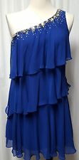 NWT One Shoulder Beaded Tiered Dress Calvin Klein Retail $158