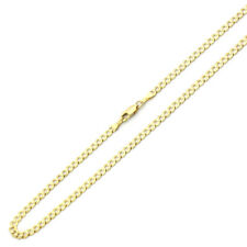 Men's 4mm 14K Yellow Gold Chain Light Curb Chain Necklace / Gift box
