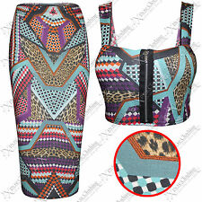 WOMENS LADIES BODYCON AZTEC PRINT PENCIL SKIRT CROP TOP SUIT TOPS MINI SKIRTS