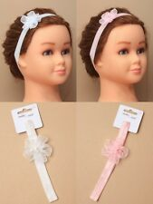 PACK OF 6 CHILD SIZE STRETCH BANDEAUX WITH CHIFFON FLOWER, HEAD BAND PINK, WHITE