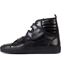 RAF SIMONS HIGH TOP FASHION SNEAKERS TRAINERS VELCRO LEATHER BLACK LEATHER