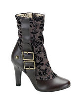 Demonia TESLA-106 Women's 4'' Heel Steampunk Tweed Calf Boot With Buckle Detail