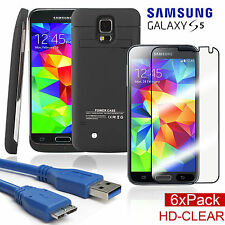 Galaxy S5 Portable External Battery Charger Case+Screen Protector/USB 3.0 Cable