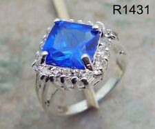 Blue Sapphire Ring 18K white gold filled Gemstone Party Wedding Xmas Gift R1431