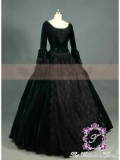Forest Green Velvet Lace Gothic Victorian Ball Gown Costume Dress Long Formal S