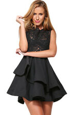 Sexy Black Romance Lace Dress Layered Skater Formal Cocktail Party Chic 10-14
