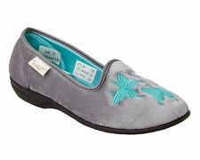 WOMENS DR KELLER GREY VELOUR WARM COSY SLIP ON SLIPPERS MULES LADIES UK SIZE 3-8