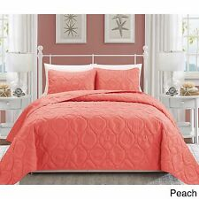 NEW Queen King Bed Peach Coral Beach Coastal Seashells 3 pc Quilt Set Bedspread