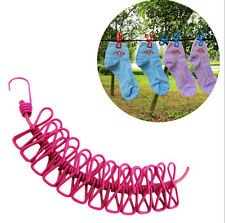 Hot Windproof Outdoor Travel Clothesline Portable Stretch Rope With 12 Clips