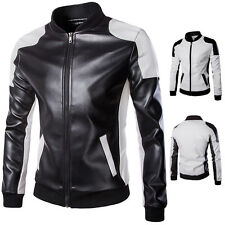 Men's Tops Slim Fit PU Leather Splicing Motorcycle Jacket Coat Outerwear XS-3XL