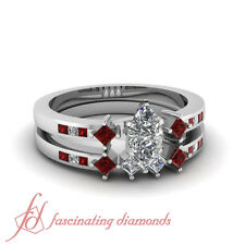 1.55 Ct Marquise Cut SI1 E-Color Diamond & Ruby Engagement Wedding Rings Set GIA