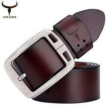 Men's Black Genuine Leather Cowhide Waist Belt Alloy Pin Buckle Waistband Strap