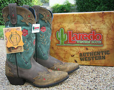 NEW Ladies Laredo Miss Kate Brown Teal Leather Western Cowboy Boots Style 52138