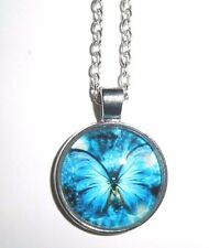 BUTTERFLY Glass Bubble Dome Pendant / Necklace - FREE Chain -your choice