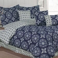 NEW Twin Full Queen King Bed Navy Blue Ivory Circle Medallion 7 pc Comforter Set