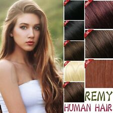 Smooth Deluxe Human Hair Clip In Remy Real Human Hair Extensions Full Head HQ343