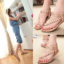 Women's Summer Bohemia Flower Flat Sandals Beach Shoes Thong Slippers Flip Flops