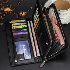 Men's Leather Bifold Wallet Credit Card Holder Checkbook Zip Coin Purse Clutch
