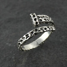 Hammered Finish Nail Ring - 925 Sterling Silver - Sizes 8-12 Cross Christian NEW