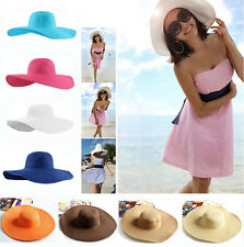 Women's Casual Cap Wide Large Brim Floppy Fold Summer Beach Sun Straw Beach Hat