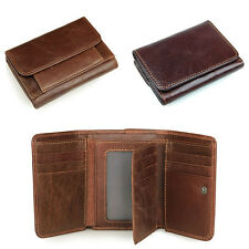 Fashion Mens Genuine Leather Card Holder Clutch Buckle Wallet Trifold Coin Purse