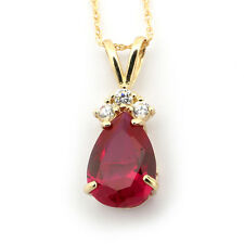 14k Yellow/White Gold Simulated Ruby & Cubic Zirconia Pear Cut Pendant Necklace