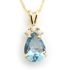 14k Yellow/White Gold Simulated Aquamarine & Cubic Zirconia Pear Necklace