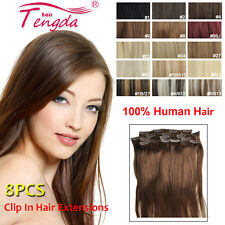8PCS 100G 140G 200G THICK CLIP IN 100% REAL HUMAN HAIR EXTENSIONS FULL
