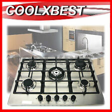 70CM STAINLESS STEEL 5 BURNER GAS / LPG COOKTOP HOB WOK with CAST IRON TRIVETS