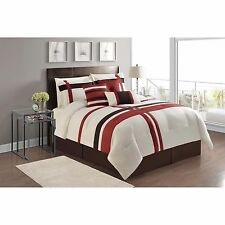 NEW Queen King Bed Red Brown Ivory Stripe 7 pc Comforter Decor Pillows Set NWT