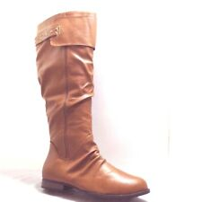 NEW WOMEN LADY FAUX LEATHER cognac KNEE HEIGHT BOOT BLOCK HEEL ZIPPER ON side