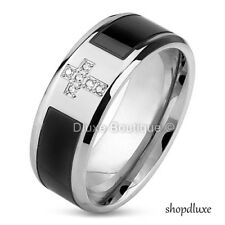 Men's Stainless Steel 316L & Black IP Simulated Diamond Holy Cross Ring Band