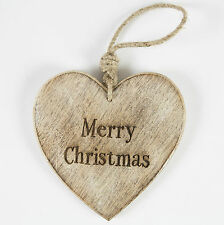Christmas Hanging Heart Decoration natural wood Merry Christmas 4 designs chunky