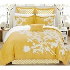 NEW Queen King Bed Yellow White Floral Geometric Circles 7 pc Comforter Set NWT
