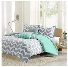 NEW Twin XL Full Queen King Bed Bag 5 pc Gray Teal Chevron Zig Zag Comforter Set